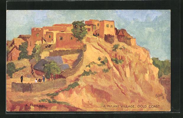 Künstler-AK Gold Coast, A Fulani Village
