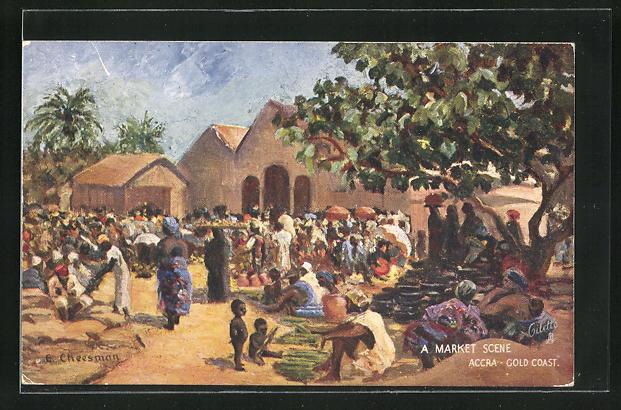 Künstler-AK Accra, A Market Scene, Marktplatz