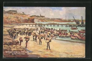 Künstler-AK Accra, Loading Cocoa into Surf Boats