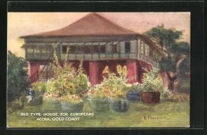 Künstler-AK Accra, Old Type House for Europeans