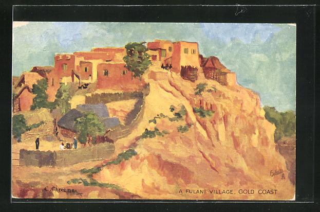 Künstler-AK Gold Coast, View of a Fulani Village