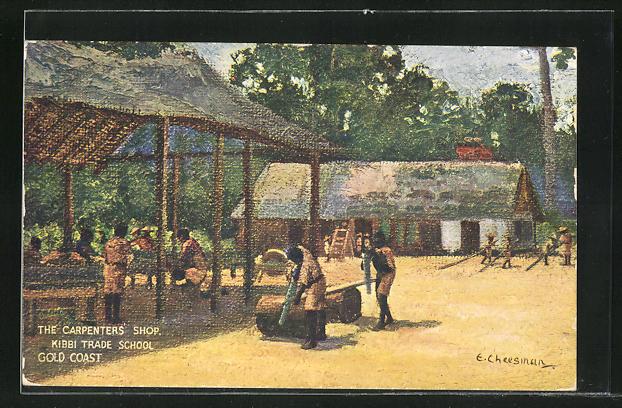 Künstler-AK Kibbi / Gold Coast, Trade School, The Carpenters Shop