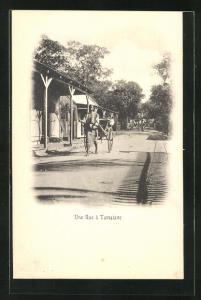 AK Tamatave, Une Rue, Rikscha-Fahrer