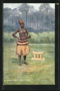 Künstler-AK Gold Coast, An Ashanti Priest
