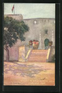 Künstler-AK Accra, Entrance to Christiansborg Castle, Eingang zur Festung