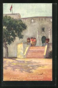 Künstler-AK Accra, Christianborg Castle, Guard at the Entrance