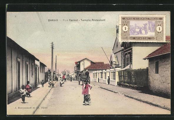 AK Dakar, Rue Carnot, Temple Protestant