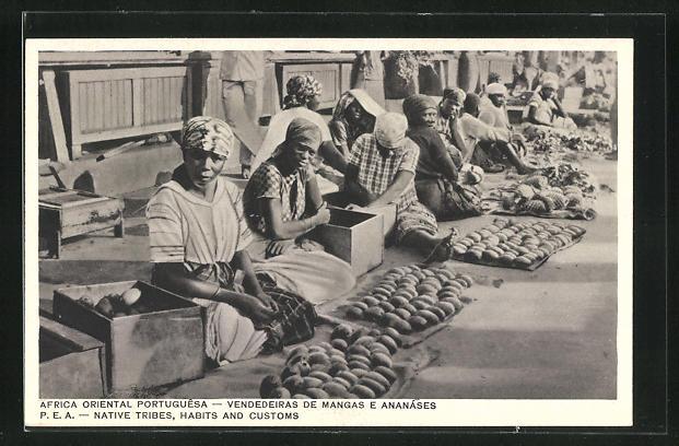 AK Mosambik, Obstverkäuferinnen auf dem Markt