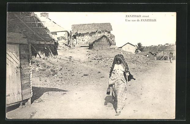 AK Zanzibar, Une Rue, Strasse im Viertel der Ureinwohner