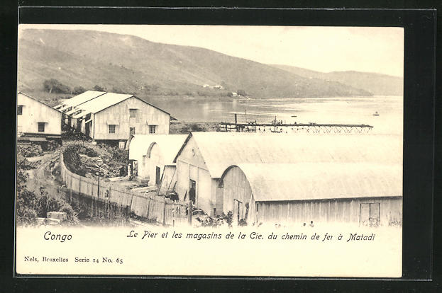 AK Matadi, Le Pier et les magasins de la Cie. du chemin de fer