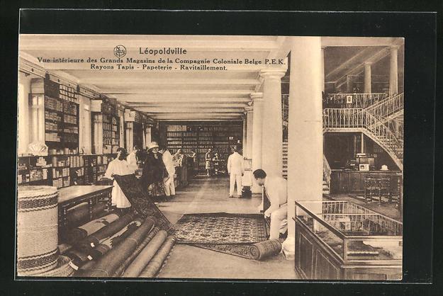 AK Léopoldville, Grands Magasins de la Compagnie Coloniale Belge P.E.K., Rayons Tapis