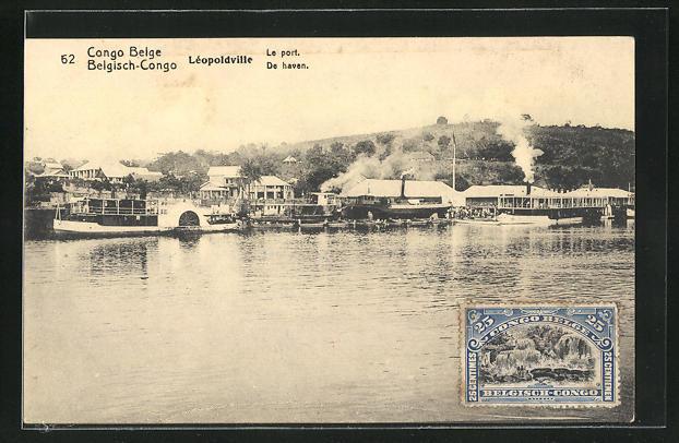AK Léopoldville, Le Port, Dampfer am Hafen, Ganzsache Belgisch-Congo