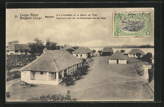 AK Basoko, Vue d`ensemble de la Station de l`Etat, Ganzsache Belgisch-Congo