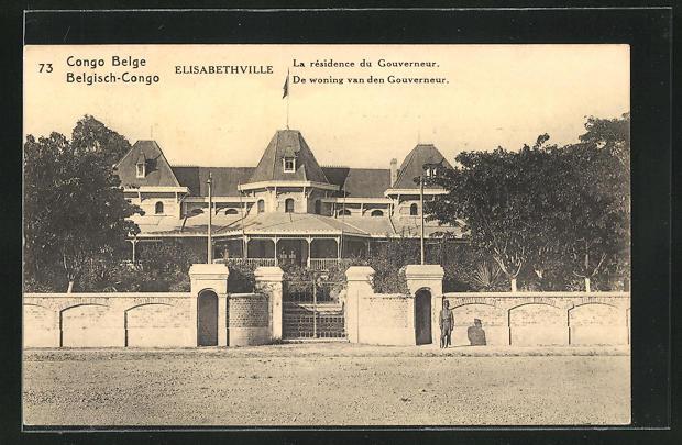 AK Elisabethville, La résidence du Gouverneur, Ganzsache Belgisch-Congo
