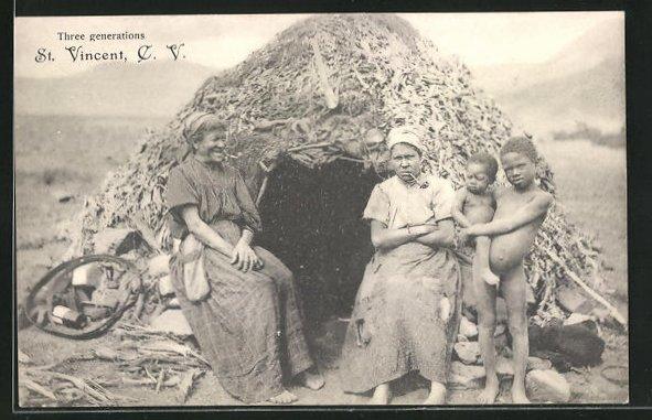 AK St. Vincent / S. Vicente, Three generations, Frau mit ihrer Mutter und ihren Kindern