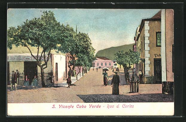 AK St. Vincent / S. Vicente, Rua d. Carlos, Strassenpartie