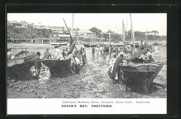 AK Freetown, Susan`s Bay, Boote auf dem Trockenen