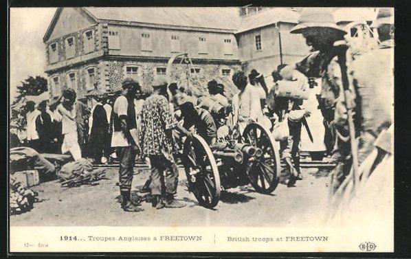 AK Freetown, Troupes Anglaises, Britische Truppen in der Stadt