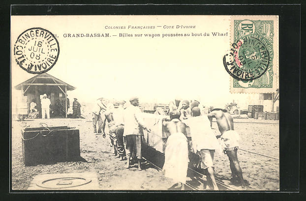 AK Grand-Bassam, Billes sur wagon poussees au bout du Wharf