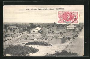 AK Bamako, Blick über Ort mit Hütten und Häusern