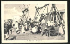 AK Djibouti, Escarpolettes, Kinder beim Schaukeln