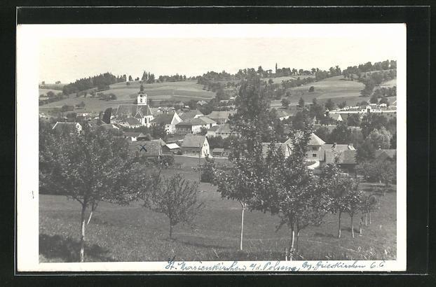 AK St. Marienkirchen a. d. Polsenz, Totalansicht über Wiese, Häuser und Kirche