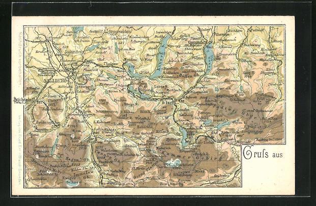 AK Bad Ischl, Landkarte mit Kammer Gebirge, Immelau, Salzburg, Atter See