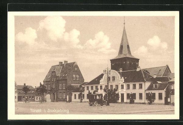 AK Saxkjobing, Torvet, Marktplatz und Kirche