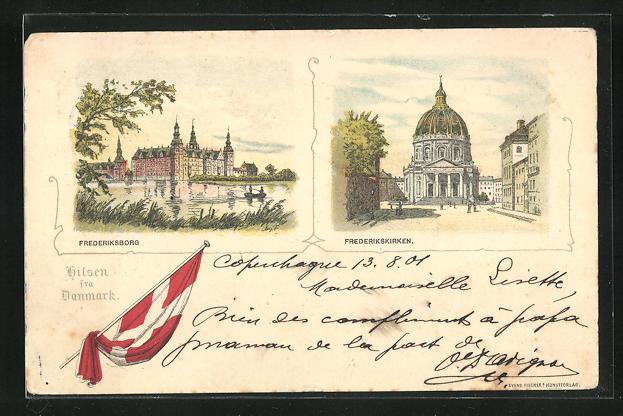 Lithographie Hillerød, Frederiksborg, Frederikskirken