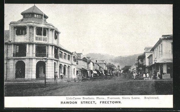 AK Freetown, Rawdon Street, Partie mit Bank
