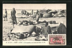 AK Fort Lamy, Un marche sur les bords du Chari