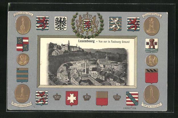 Präge-AK Luxembourg, Vue sur la Faubourg Ground, Wappen