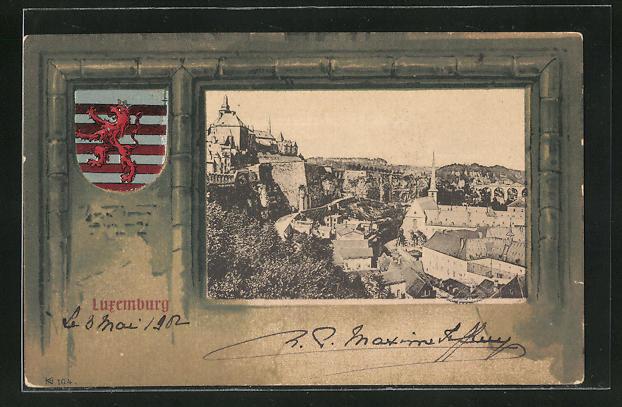 AK Luxembourg, Ortsansicht, Wappen