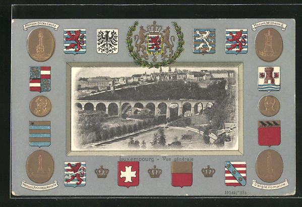 AK Luxembourg, Vue générale, Wappen