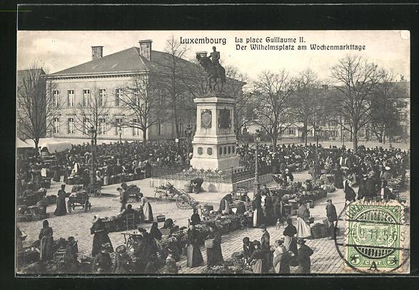 AK Luxembourg, Wilhelmsplatz am Wochenmarkttage