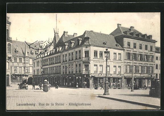 AK Luxembourg, Königinstrasse mit Geschäften