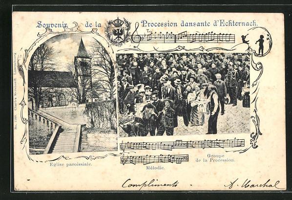 AK Echternach, Procession dansante, Eglise paroissiale