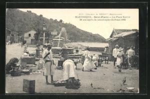 AK Saint-Pierre, La Place Bertin 20 ans apres la catastrophe du 8 mai 1902