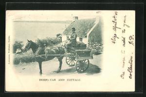 AK Irish car and cottage, Pferdewagen