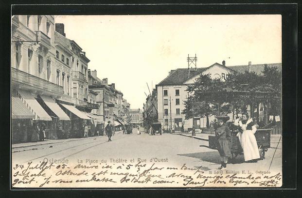 AK Ostende, La Place du Theatre et Rue d'Ouest, Eisverkäuferin
