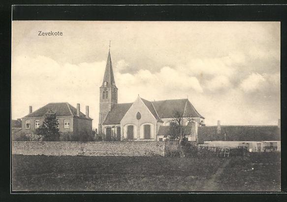 AK Zevekote, Blick auf Kirche und Umgebung