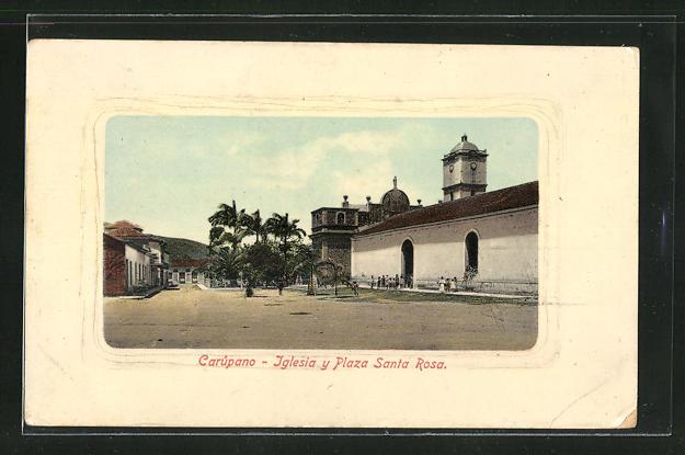 Passepartout-AK Carupano, Iglesia y Plaza Santa Rosa