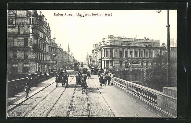 AK Aberdeen, Union Street looking West, Strassenbahn