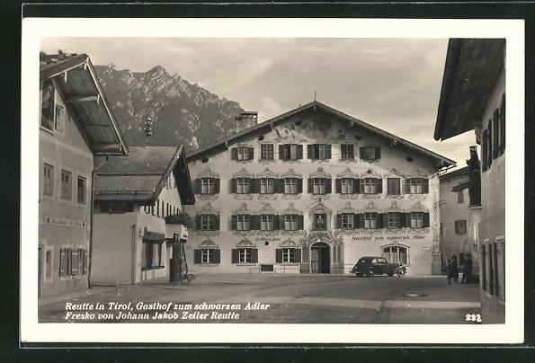 AK Reutte, Gasthof zum schwarzen Adler, Fresko von Johann Jakob Zeiler Reutte