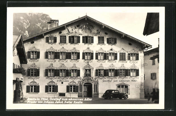 AK Reutte i. Tirol, Gasthof zum schwarzen Adler, Fresko von Johann Jakob Zeiler Reutte