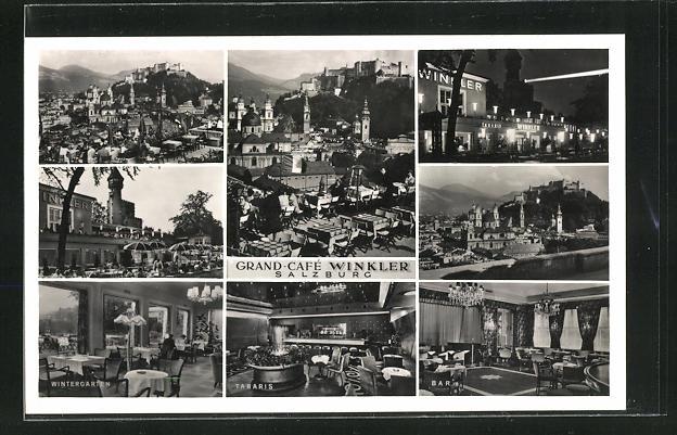 AK Salzburg, Grand-Cafe Winkler, Innenansichten, Terrasse und Umgebung