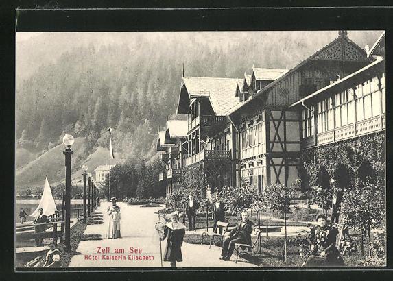 AK Zell am See, Hotel Kaiserin Elisabeth mit Promenade