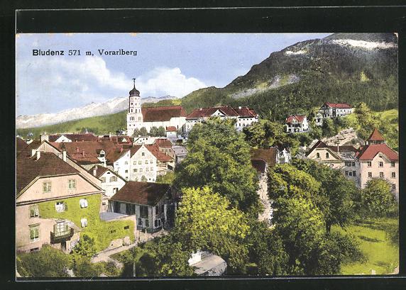 AK Bludenz, Ortsansicht mit Häusern und Kirche, Vorarlberg