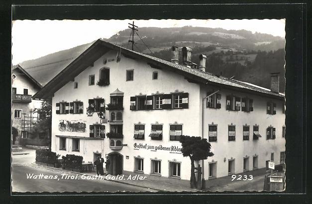 AK Wattens, Gasthof zum goldenen Adler, Eckfassade