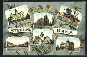 AK Sterling, KS, Cooper College, Masonic Temple, Broadway, A. T. and S. F. Depot